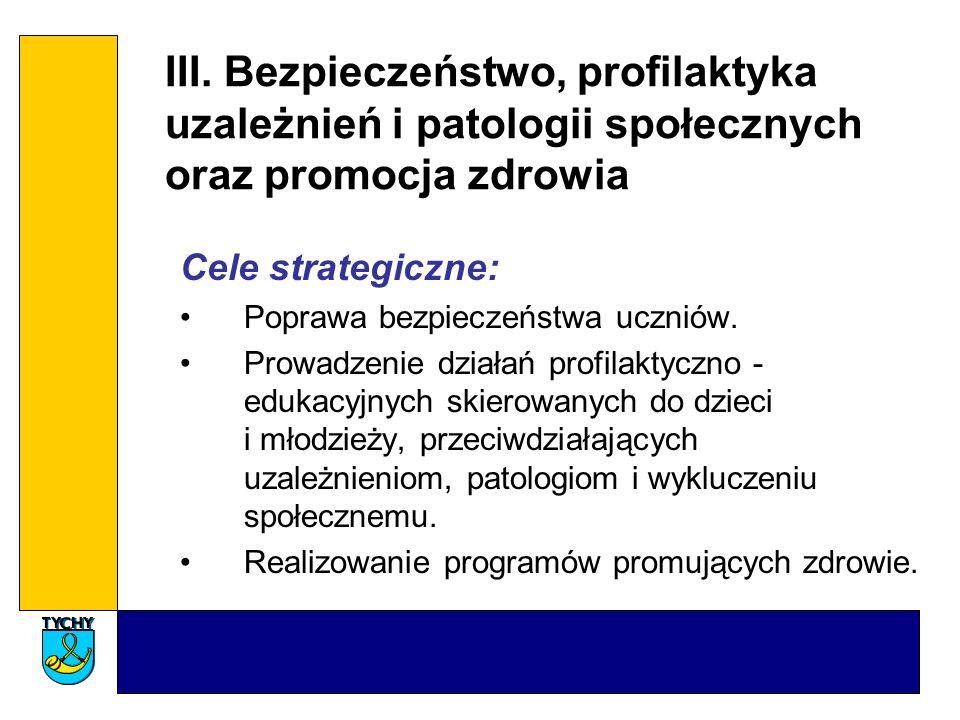 III. Bezpieczeństwo, profilaktyka uzależnień i patologii społecznych oraz promocja zdrowia Cele strategiczne: Poprawa bezpieczeństwa uczniów. Prowadze