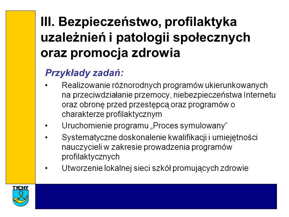 III. Bezpieczeństwo, profilaktyka uzależnień i patologii społecznych oraz promocja zdrowia Przykłady zadań: Realizowanie różnorodnych programów ukieru