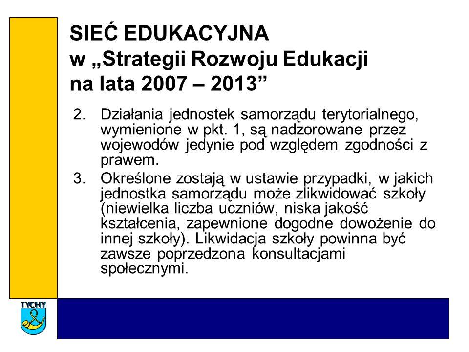 SIEĆ EDUKACYJNA w Strategii Rozwoju Edukacji na lata 2007 – 2013 2.Działania jednostek samorządu terytorialnego, wymienione w pkt. 1, są nadzorowane p
