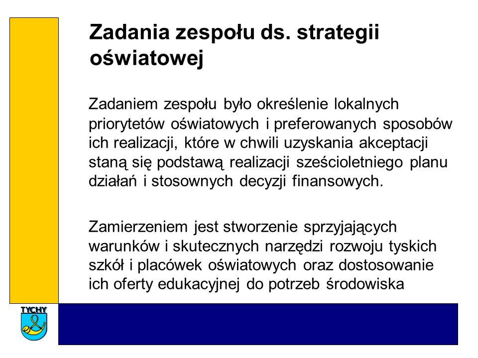 Zadania zespołu ds. strategii oświatowej Zadaniem zespołu było określenie lokalnych priorytetów oświatowych i preferowanych sposobów ich realizacji, k