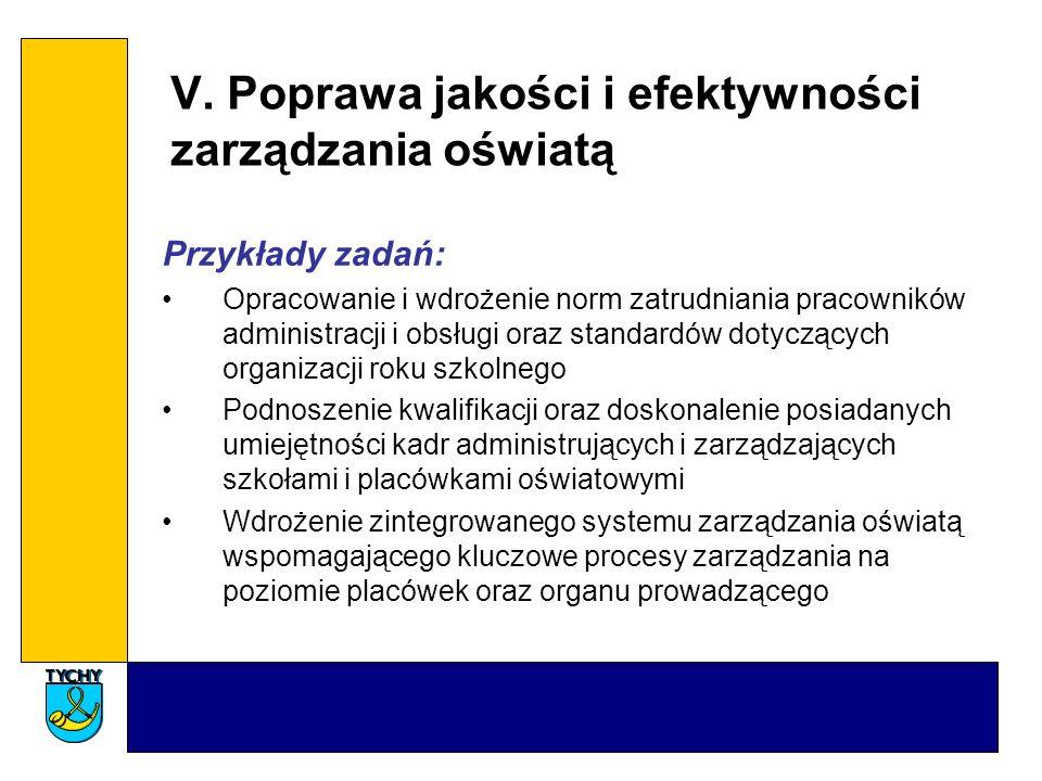 V. Poprawa jakości i efektywności zarządzania oświatą Przykłady zadań: Opracowanie i wdrożenie norm zatrudniania pracowników administracji i obsługi o