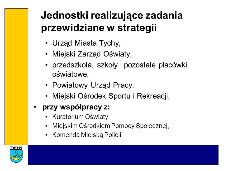 Jednostki realizujące zadania przewidziane w strategii Urząd Miasta Tychy, Miejski Zarząd Oświaty, przedszkola, szkoły i pozostałe placówki oświatowe, Powiatowy Urząd Pracy.