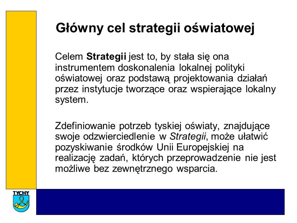 Główny cel strategii oświatowej Celem Strategii jest to, by stała się ona instrumentem doskonalenia lokalnej polityki oświatowej oraz podstawą projektowania działań przez instytucje tworzące oraz wspierające lokalny system.