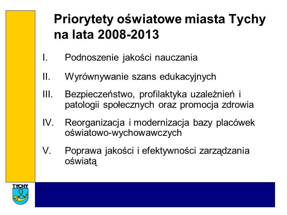 Priorytety oświatowe miasta Tychy na lata 2008-2013 I.Podnoszenie jakości nauczania II.Wyrównywanie szans edukacyjnych III.Bezpieczeństwo, profilaktyk