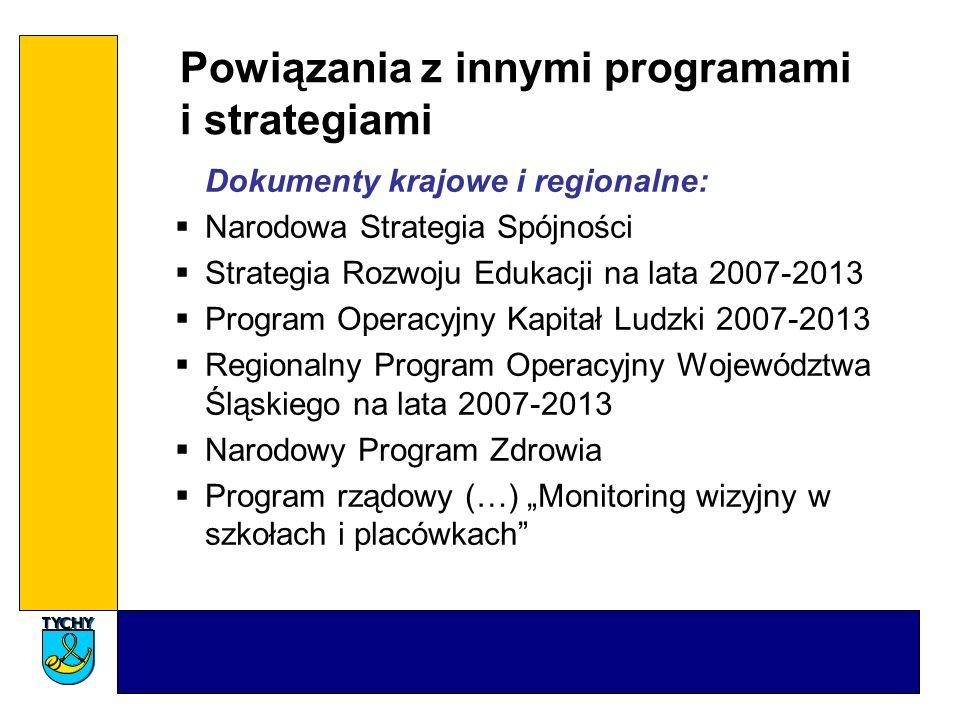 Powiązania z innymi programami i strategiami Dokumenty krajowe i regionalne: Narodowa Strategia Spójności Strategia Rozwoju Edukacji na lata 2007-2013
