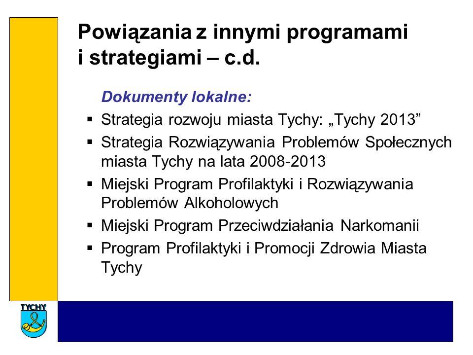 Powiązania z innymi programami i strategiami – c.d. Dokumenty lokalne: Strategia rozwoju miasta Tychy: Tychy 2013 Strategia Rozwiązywania Problemów Sp
