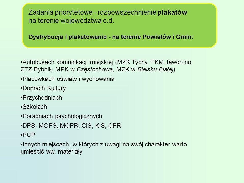 Zadania priorytetowe - rozpowszechnienie plakatów na terenie województwa c.d.