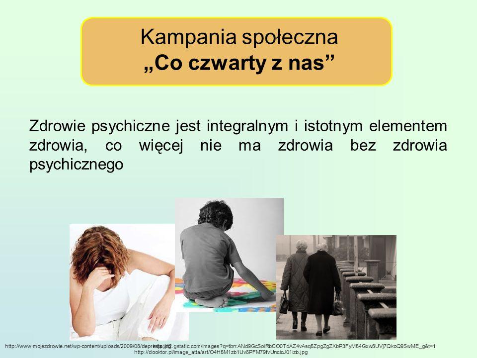 Kampania społeczna Co czwarty z nas Zdrowie psychiczne jest integralnym i istotnym elementem zdrowia, co więcej nie ma zdrowia bez zdrowia psychicznego http://www.mojezdrowie.net/wp-content/uploads/2009/08/depresja.jpghttp://t2.gstatic.com/images?q=tbn:ANd9GcSoiRbCO0TdAZ4vAsq5ZpgZgZXbP3FyM54Gxw8UVj7QkoQ9SwME_g&t=1 http://dooktor.pl/image_atta/art/O4H5M1zb1Uv6PFM79fvUncicJ01izb.jpg