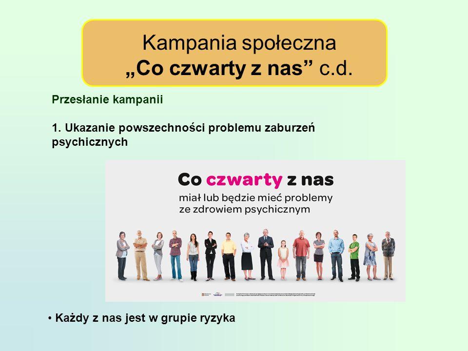 Kampania społeczna Co czwarty z nas c.d.Przesłanie kampanii 1.