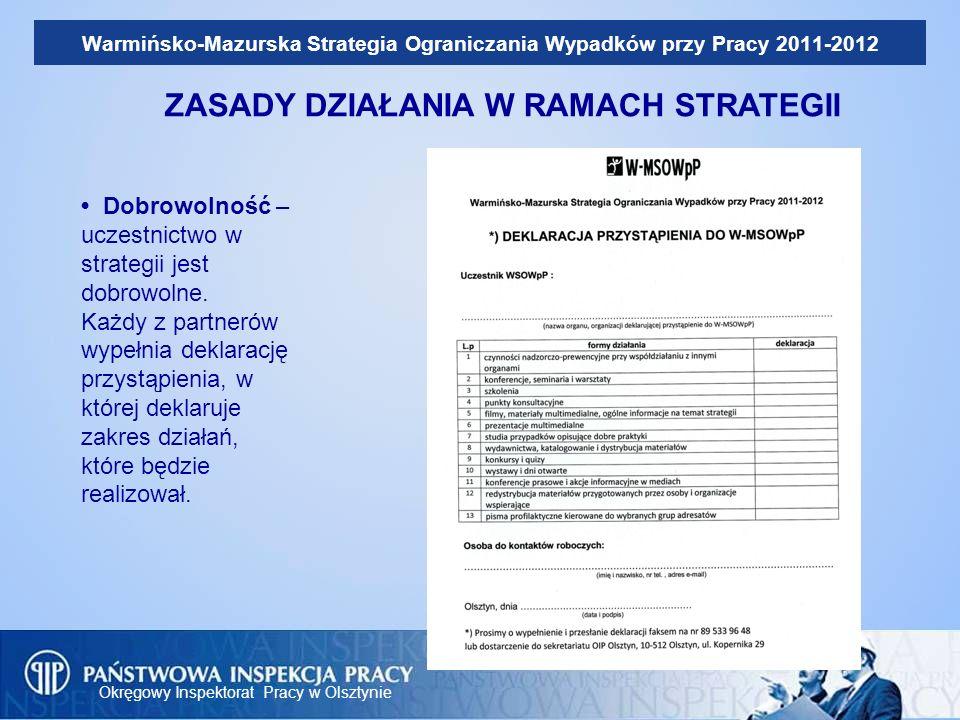 Okręgowy Inspektorat Pracy w Olsztynie Warmińsko-Mazurska Strategia Ograniczania Wypadków przy Pracy 2011-2012 ZASADY DZIAŁANIA W RAMACH STRATEGII Dob