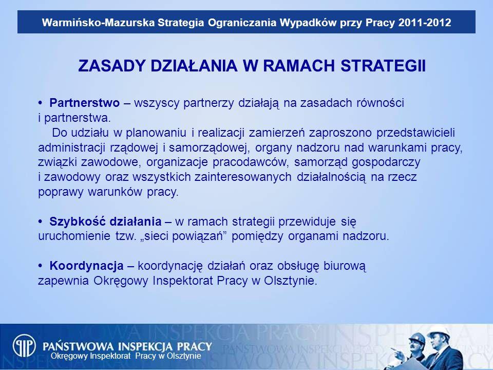 Okręgowy Inspektorat Pracy w Olsztynie Warmińsko-Mazurska Strategia Ograniczania Wypadków przy Pracy 2011-2012 ZASADY DZIAŁANIA W RAMACH STRATEGII Par