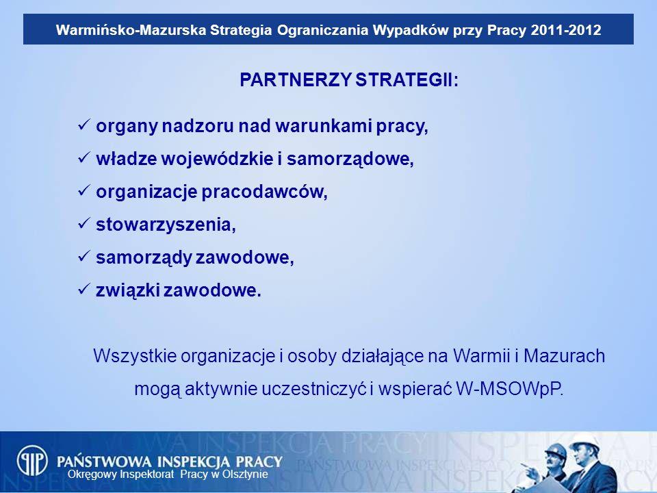 Okręgowy Inspektorat Pracy w Olsztynie Warmińsko-Mazurska Strategia Ograniczania Wypadków przy Pracy 2011-2012 PARTNERZY STRATEGII: organy nadzoru nad