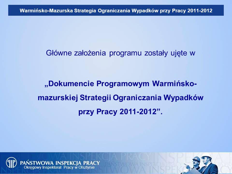 Okręgowy Inspektorat Pracy w Olsztynie Warmińsko-Mazurska Strategia Ograniczania Wypadków przy Pracy 2011-2012 Główne założenia programu zostały ujęte