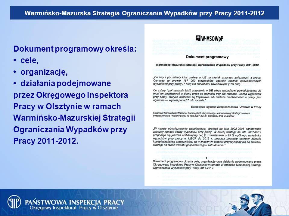 Okręgowy Inspektorat Pracy w Olsztynie Warmińsko-Mazurska Strategia Ograniczania Wypadków przy Pracy 2011-2012 Dokument programowy określa: cele, orga