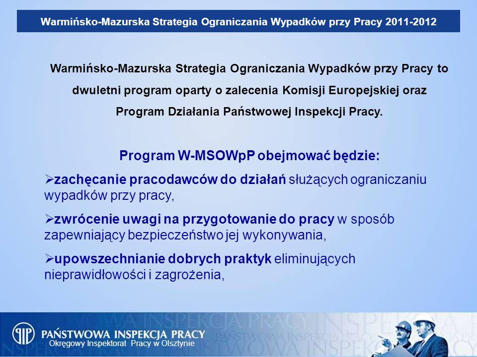 Okręgowy Inspektorat Pracy w Olsztynie Warmińsko-Mazurska Strategia Ograniczania Wypadków przy Pracy 2011-2012 Warmińsko-Mazurska Strategia Ograniczan