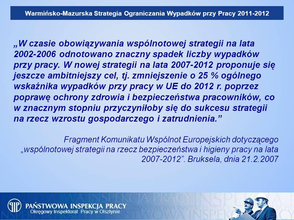 Okręgowy Inspektorat Pracy w Olsztynie Warmińsko-Mazurska Strategia Ograniczania Wypadków przy Pracy 2011-2012 Misją Państwowej Inspekcji Pracy jest zapobieganie i eliminowanie zagrożeń w środowisku pracy.