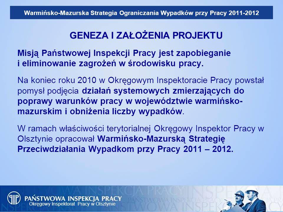 Okręgowy Inspektorat Pracy w Olsztynie Warmińsko-Mazurska Strategia Ograniczania Wypadków przy Pracy 2011-2012 Główne założenia programu zostały ujęte w Dokumencie Programowym Warmińsko- mazurskiej Strategii Ograniczania Wypadków przy Pracy 2011-2012.