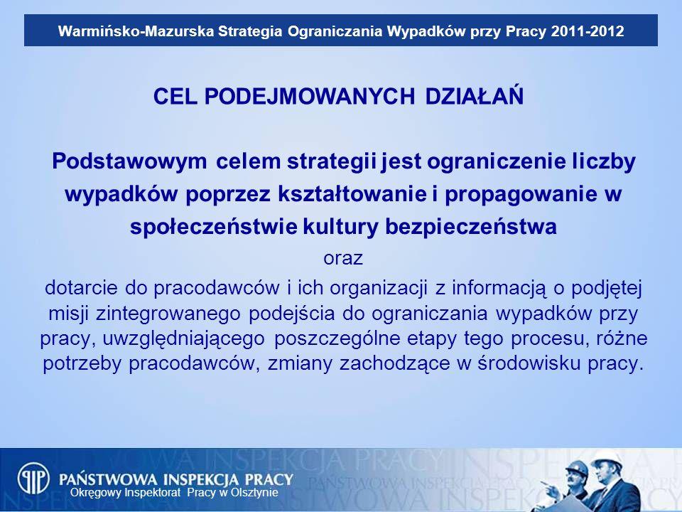 Okręgowy Inspektorat Pracy w Olsztynie Warmińsko-Mazurska Strategia Ograniczania Wypadków przy Pracy 2011-2012 Podstawowym celem strategii jest ograni