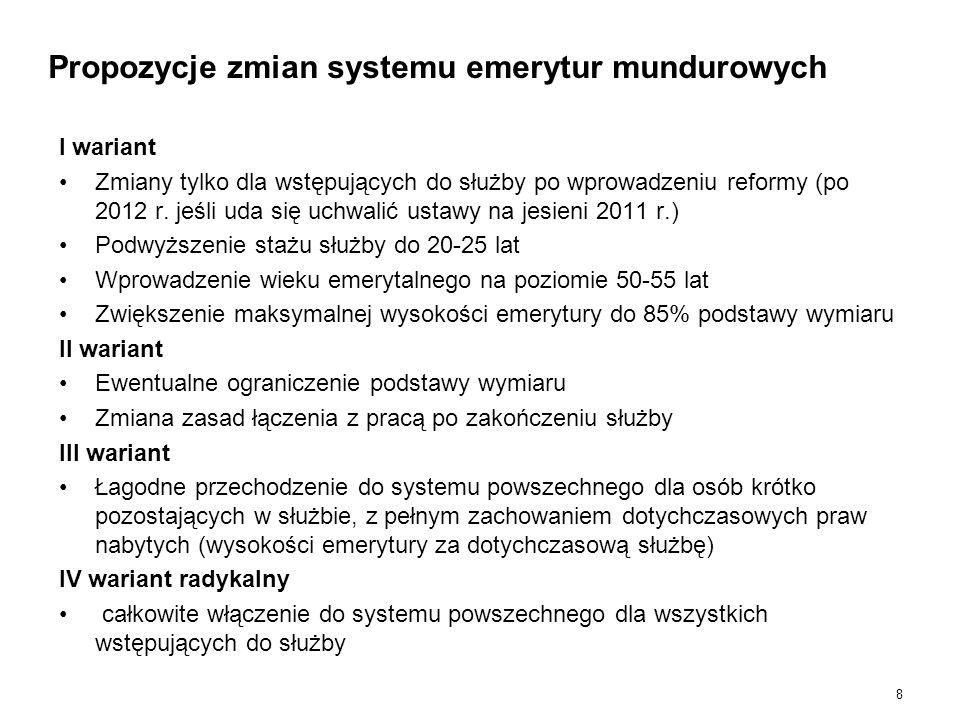 8 Propozycje zmian systemu emerytur mundurowych I wariant Zmiany tylko dla wstępujących do służby po wprowadzeniu reformy (po 2012 r. jeśli uda się uc