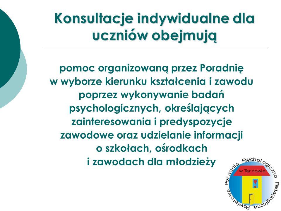 Konsultacje indywidualne dla uczniów obejmują pomoc organizowaną przez Poradnię w wyborze kierunku kształcenia i zawodu poprzez wykonywanie badań psyc