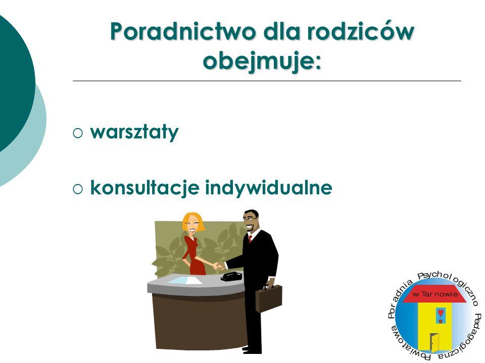 Poradnictwo dla rodziców obejmuje: warsztaty konsultacje indywidualne