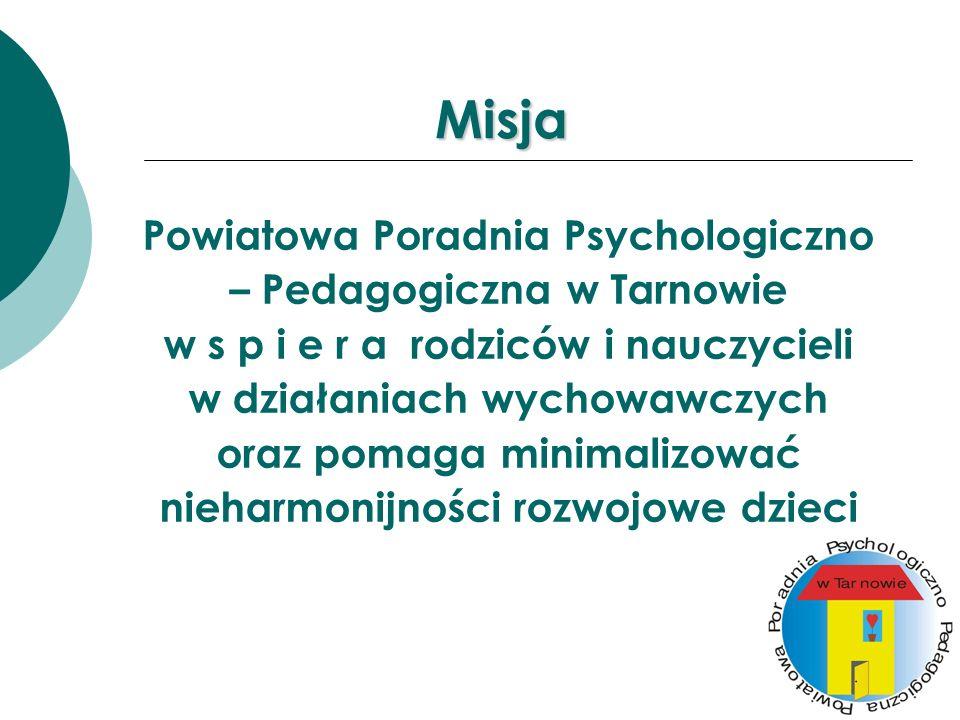 Misja Powiatowa Poradnia Psychologiczno – Pedagogiczna w Tarnowie w s p i e r a rodziców i nauczycieli w działaniach wychowawczych oraz pomaga minimal