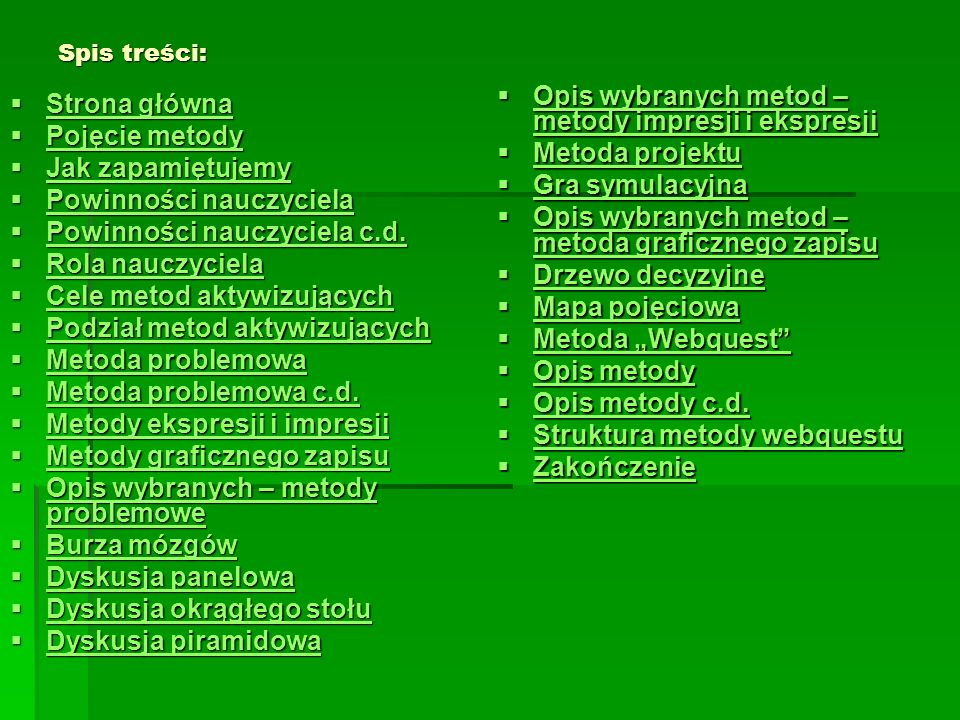 Spis treści: Strona główna Strona główna Strona główna Strona główna Pojęcie metody Pojęcie metody Pojęcie metody Pojęcie metody Jak zapamiętujemy Jak