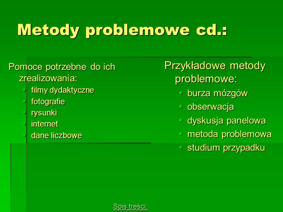 Metody problemowe cd.: Pomoce potrzebne do ich zrealizowania: filmy dydaktyczne filmy dydaktyczne fotografie fotografie rysunki rysunki internet inter