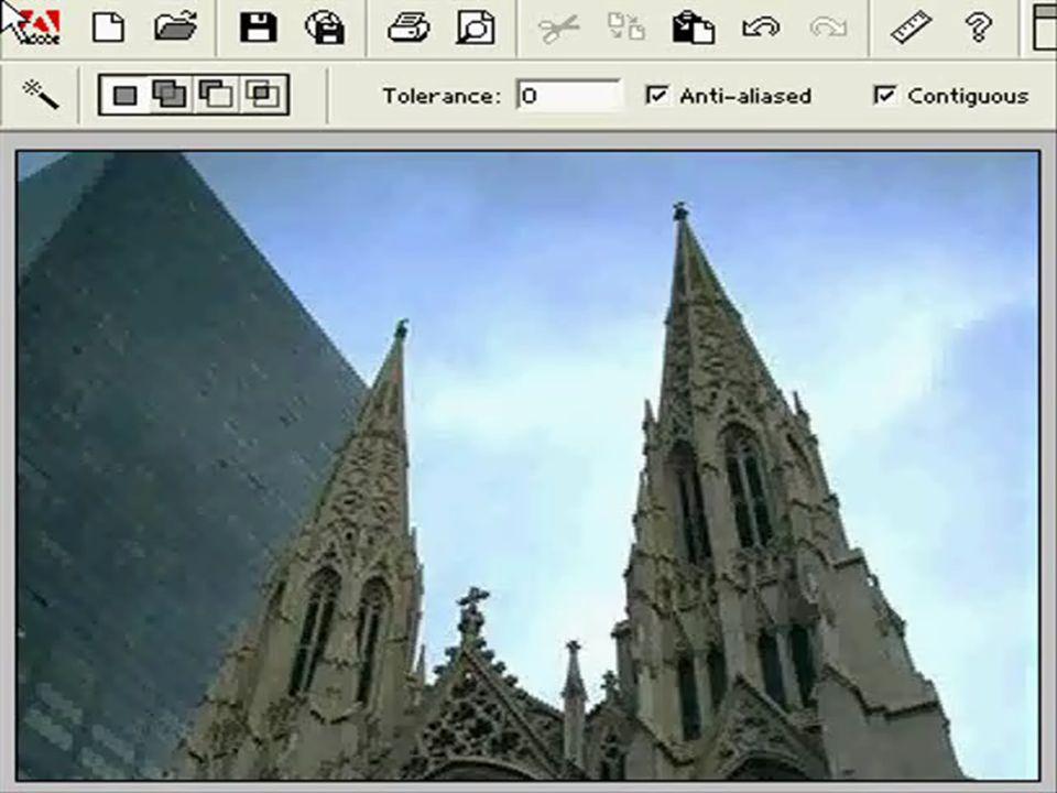 SEBASTIAN KIERZKA iii ROK WT 5.4. MAGICZNA RÓŻDŻKA Zaznacza wszystkie sąsiadujące piksele o kolorze podobnym do koloru piksela klikniętego tym narzędz