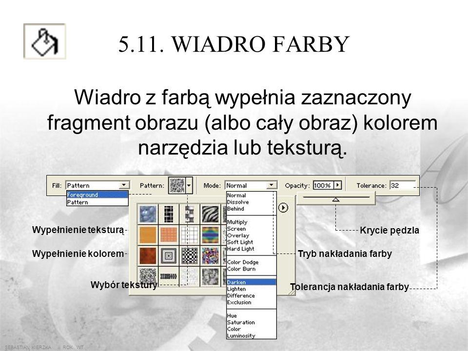 SEBASTIAN KIERZKA iii ROK WT 5.10. PĘDZEL Pędzel umożliwia malowanie. W pasku opcji wybiera się jego końcówkę (rozmiar i kształt), ustala się krycie (