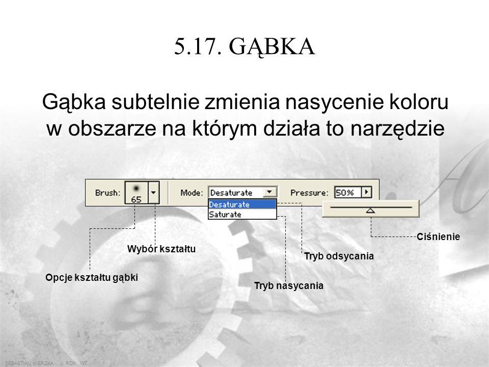 SEBASTIAN KIERZKA iii ROK WT 5.16. WYOSTRZENIE Poprawia mgliste części obrazu powiększając kontrast sąsiednich pikseli dzięki czemu zwiększa się ich o