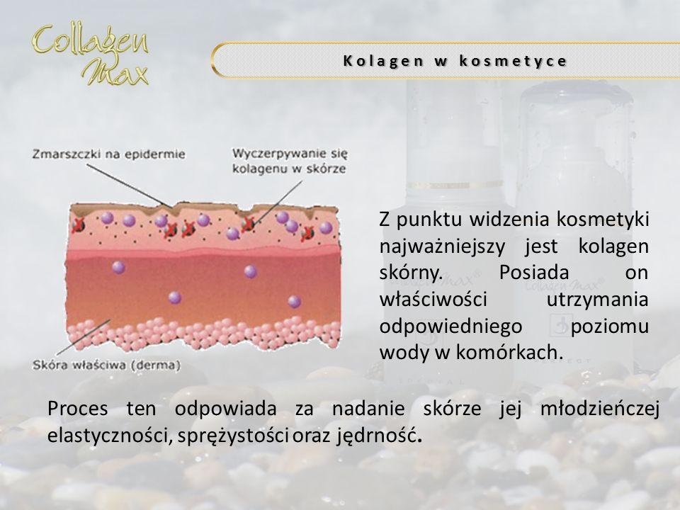 Z punktu widzenia kosmetyki najważniejszy jest kolagen skórny. Posiada on właściwości utrzymania odpowiedniego poziomu wody w komórkach. K o l a g e n