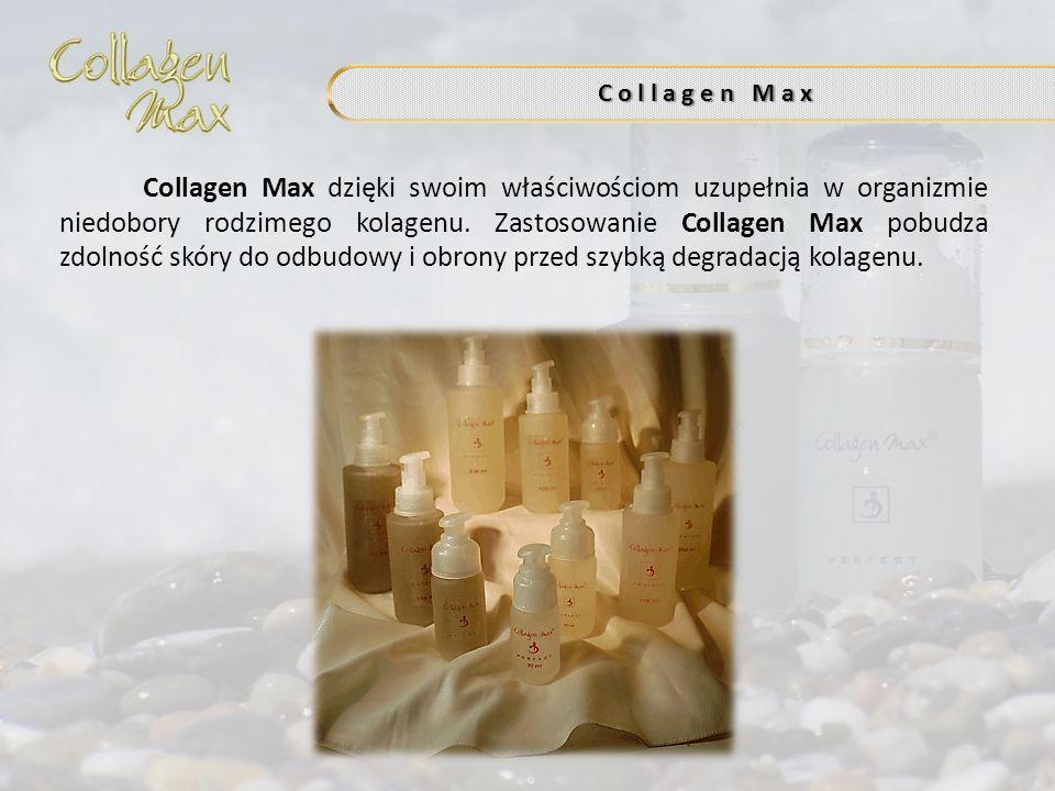 C o l l a g e n M a x Collagen Max dzięki swoim właściwościom uzupełnia w organizmie niedobory rodzimego kolagenu. Zastosowanie Collagen Max pobudza z