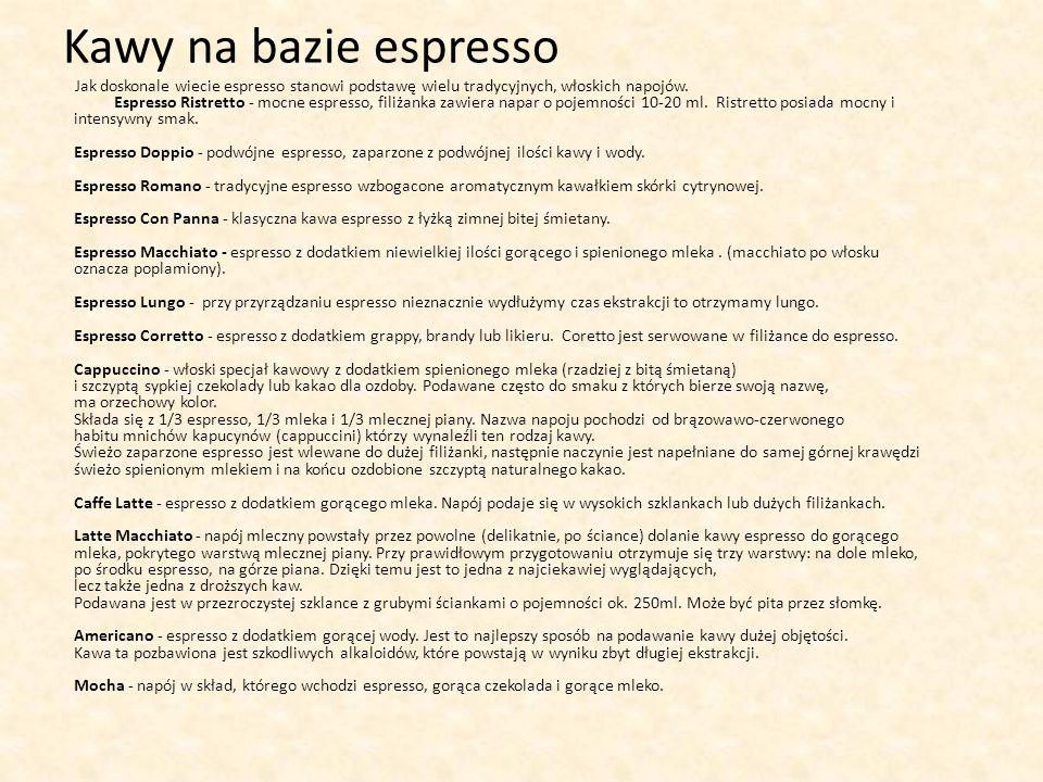 Kawy na bazie espresso Jak doskonale wiecie espresso stanowi podstawę wielu tradycyjnych, włoskich napojów. Espresso Ristretto - mocne espresso, filiż