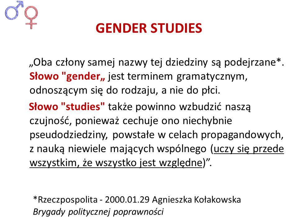 GENDER STUDIES Oba człony samej nazwy tej dziedziny są podejrzane*. Słowo
