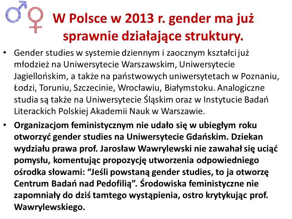 Gender studies w systemie dziennym i zaocznym kształci już młodzież na Uniwersytecie Warszawskim, Uniwersytecie Jagiellońskim, a także na państwowych