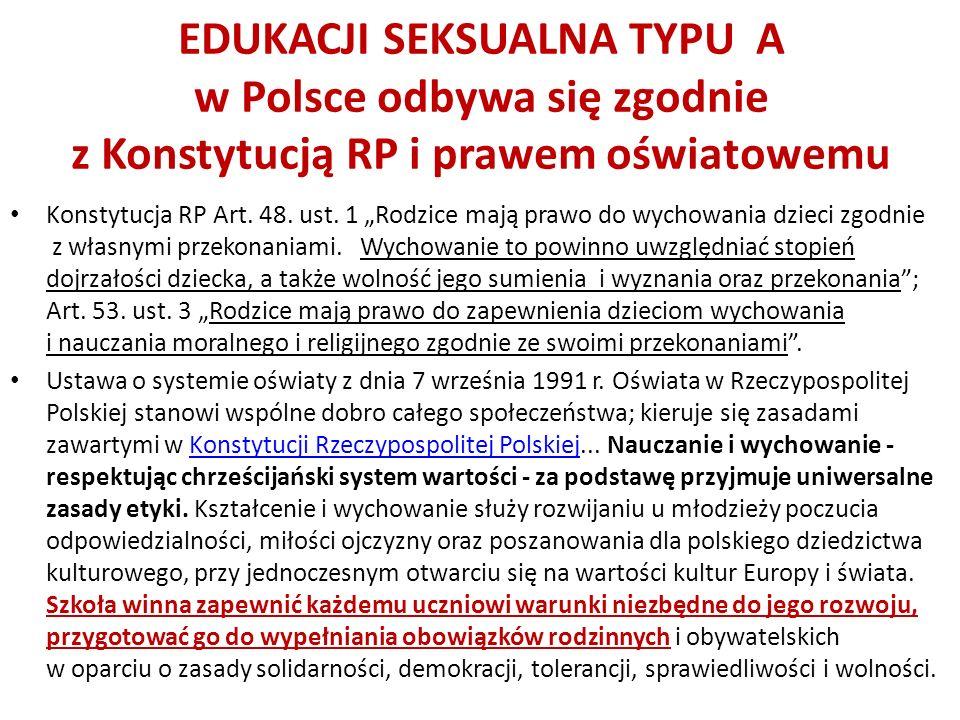 EDUKACJI SEKSUALNA TYPU A w Polsce odbywa się zgodnie z Konstytucją RP i prawem oświatowemu Konstytucja RP Art. 48. ust. 1 Rodzice mają prawo do wycho