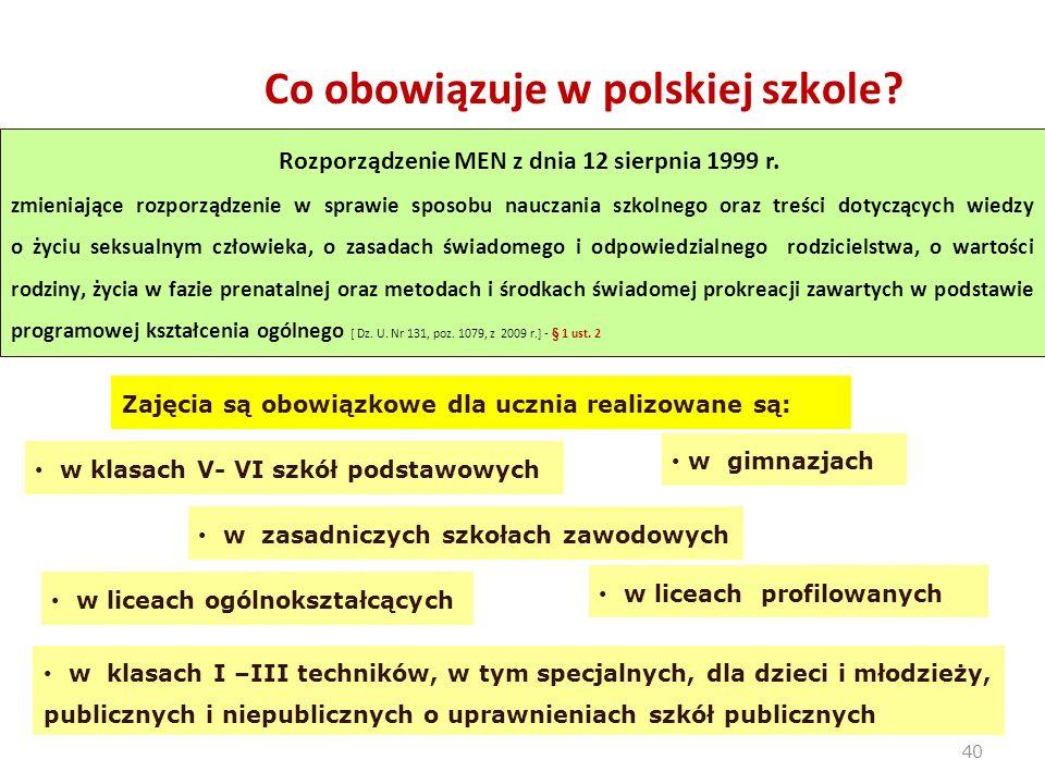 40 Rozporządzenie MEN z dnia 12 sierpnia 1999 r. zmieniające rozporządzenie w sprawie sposobu nauczania szkolnego oraz treści dotyczących wiedzy o życ