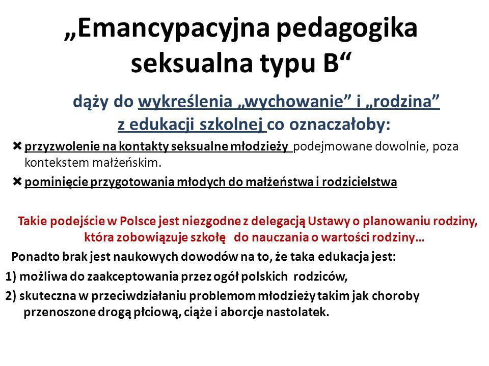 dąży do wykreślenia wychowanie i rodzina z edukacji szkolnej co oznaczałoby: przyzwolenie na kontakty seksualne młodzieży podejmowane dowolnie, poza k