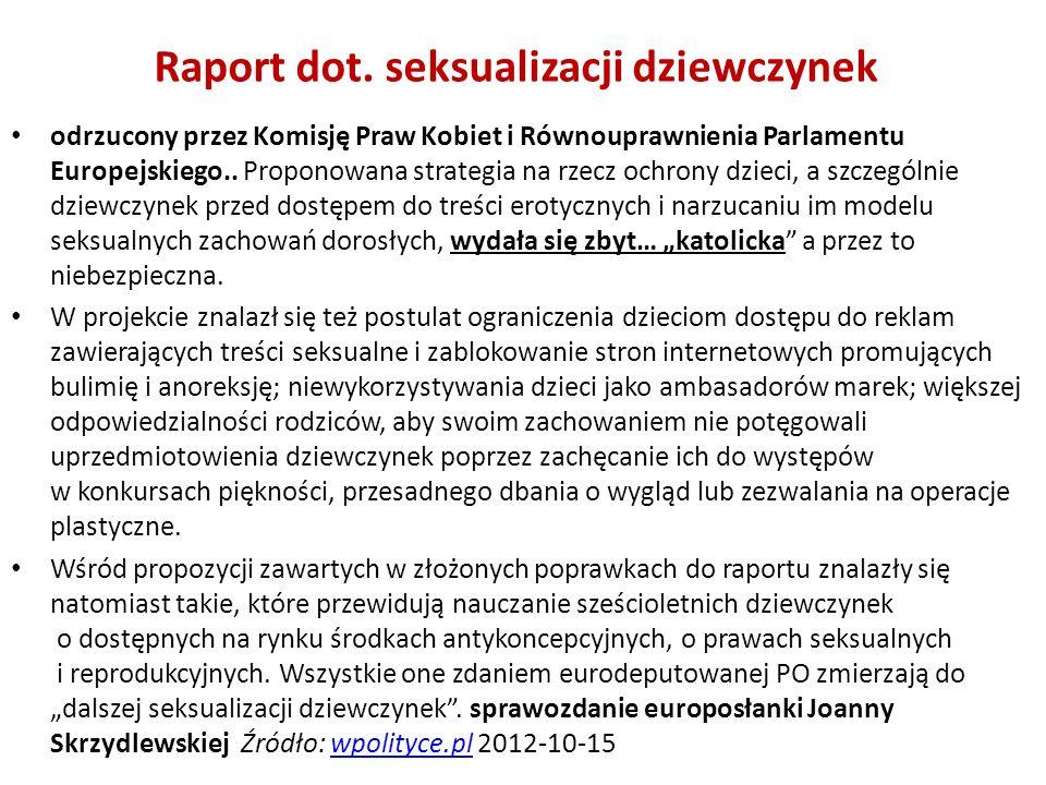 Raport dot. seksualizacji dziewczynek odrzucony przez Komisję Praw Kobiet i Równouprawnienia Parlamentu Europejskiego.. Proponowana strategia na rzecz