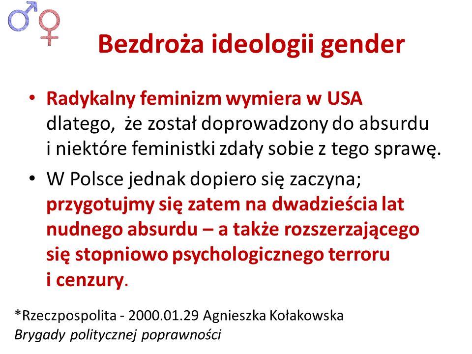Radykalny feminizm wymiera w USA dlatego, że został doprowadzony do absurdu i niektóre feministki zdały sobie z tego sprawę. W Polsce jednak dopiero s