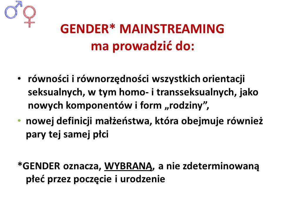 równości i równorzędności wszystkich orientacji seksualnych, w tym homo- i transseksualnych, jako nowych komponentów i form rodziny, nowej definicji m