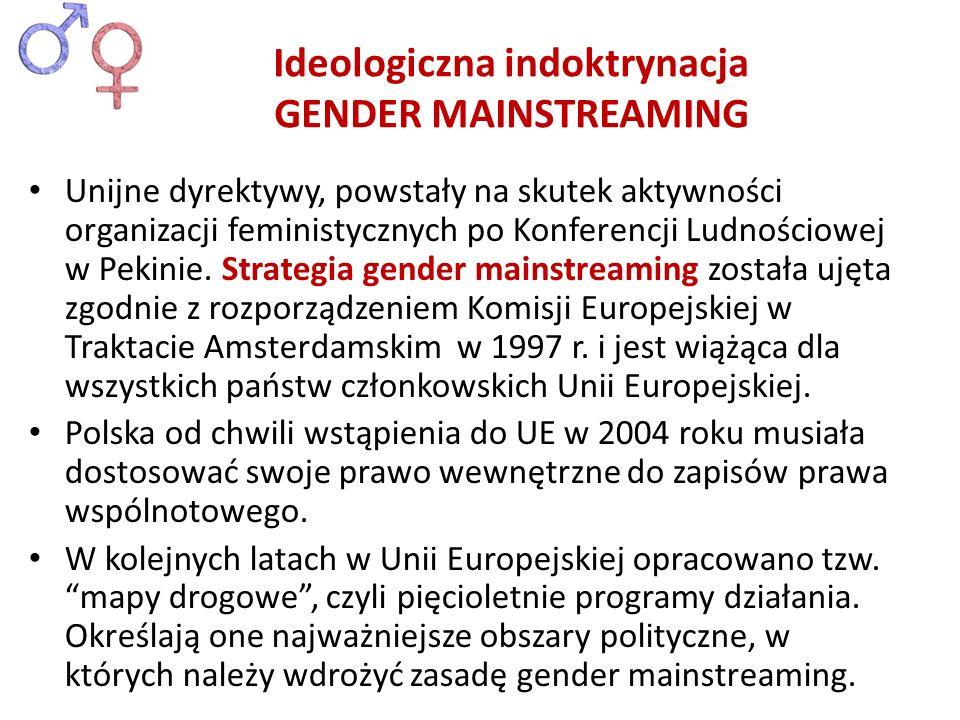 Unijne dyrektywy, powstały na skutek aktywności organizacji feministycznych po Konferencji Ludnościowej w Pekinie. Strategia gender mainstreaming zost