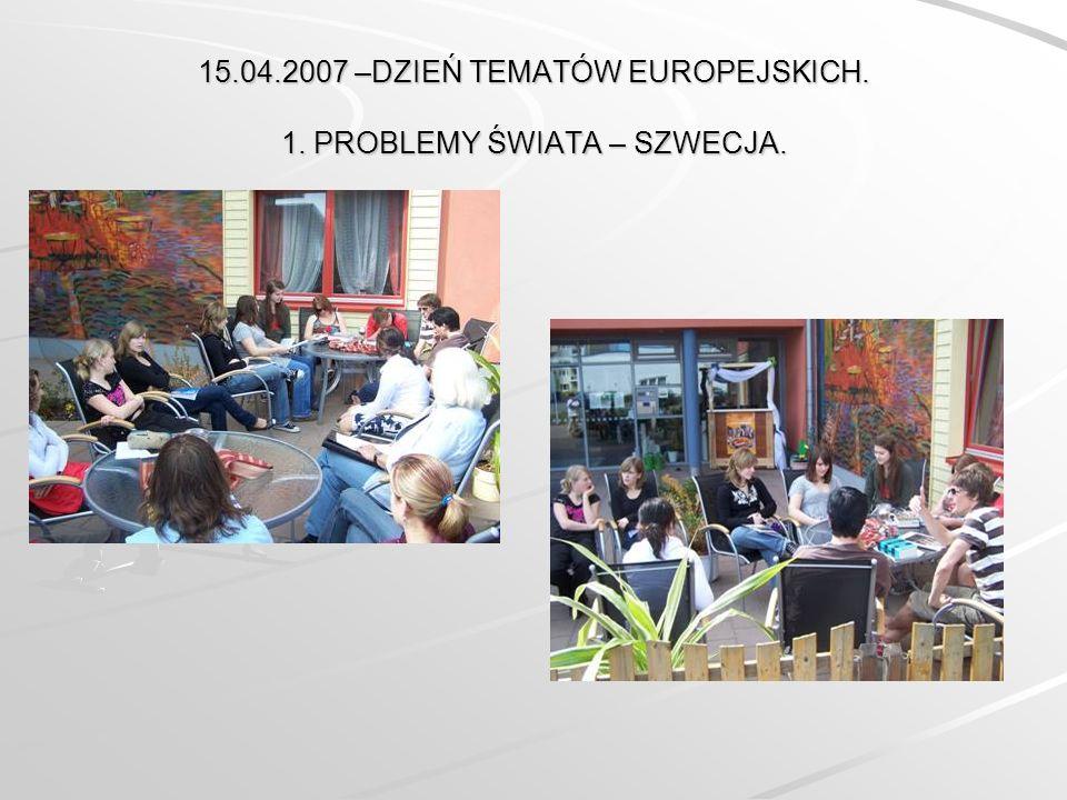 15.04.2007 –DZIEŃ TEMATÓW EUROPEJSKICH. 1. PROBLEMY ŚWIATA – SZWECJA.