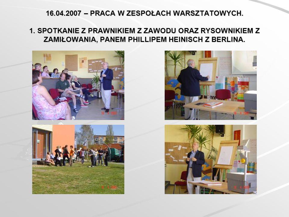 16.04.2007 – PRACA W ZESPOŁACH WARSZTATOWYCH. 1.