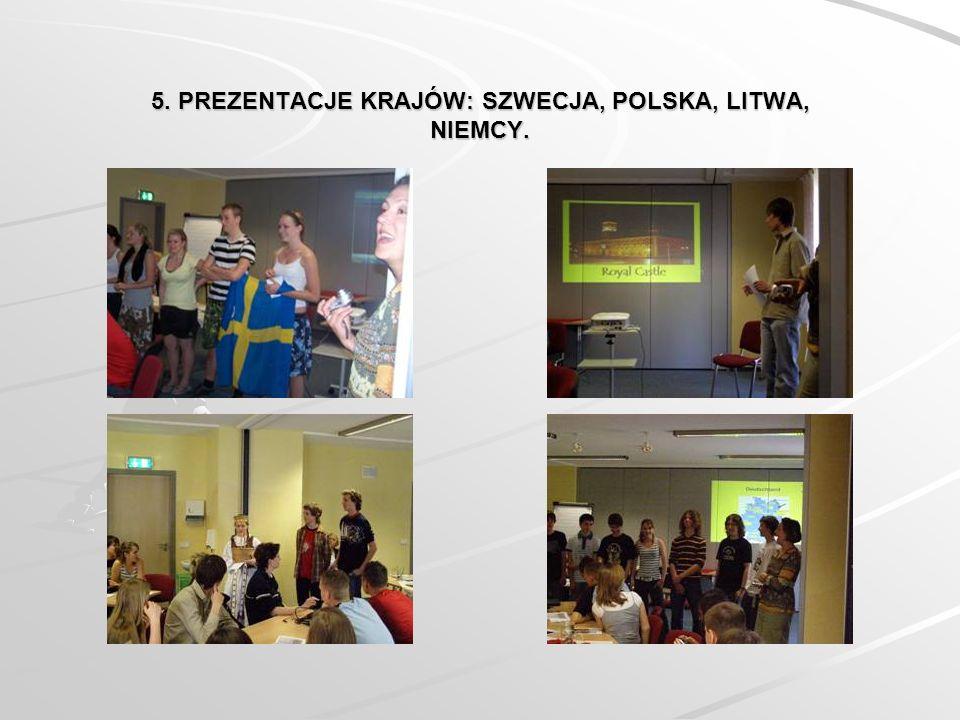 5. PREZENTACJE KRAJÓW: SZWECJA, POLSKA, LITWA, NIEMCY.