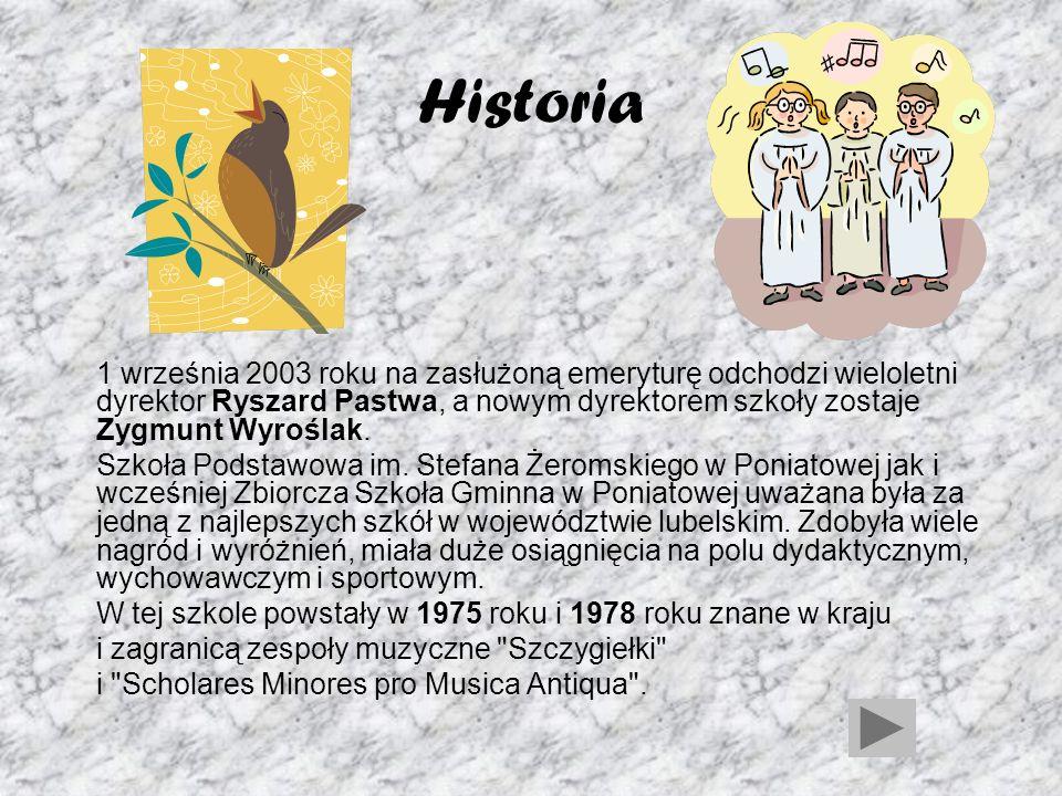 Historia Od roku szkolnego 2000/2001 funkcjonuje sześcioletnia Szkoła Podstawowa im. Stefana Żeromskiego mająca siedzibę w starszym budynku szkolnym (