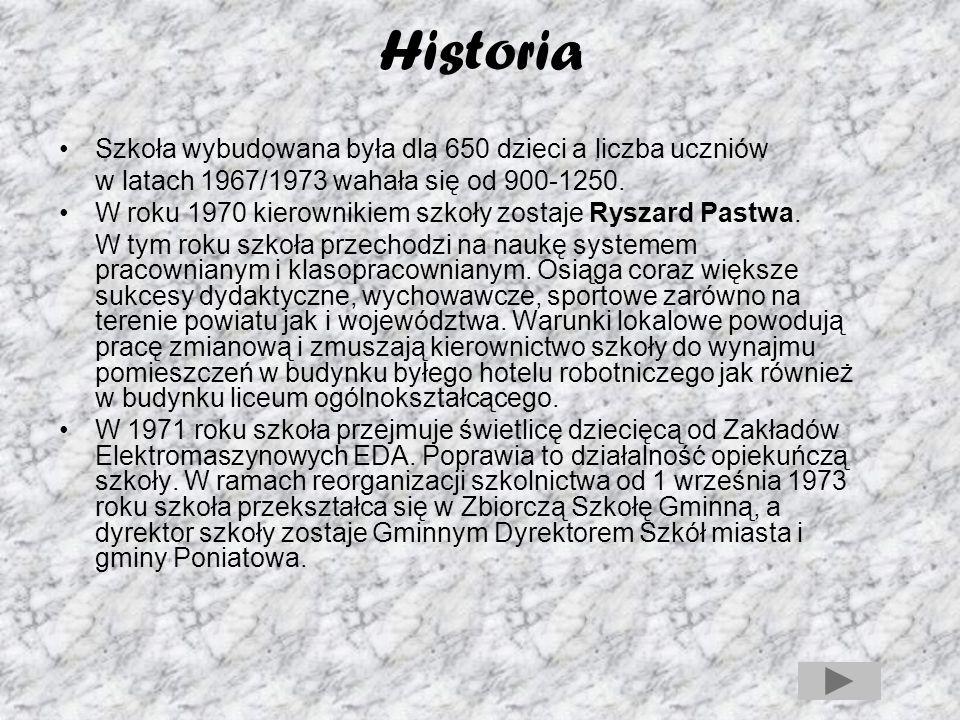 Historia 1 września 2003 roku na zasłużoną emeryturę odchodzi wieloletni dyrektor Ryszard Pastwa, a nowym dyrektorem szkoły zostaje Zygmunt Wyroślak.