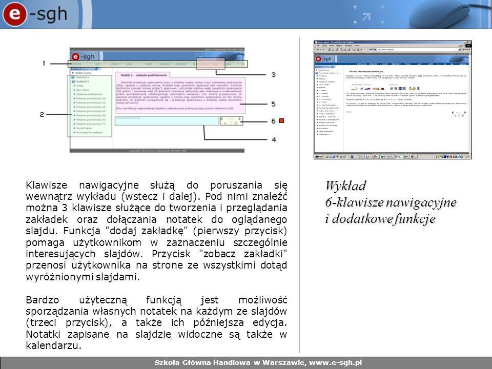 Szkoła Główna Handlowa w Warszawie, www.e-sgh.pl Klawisze nawigacyjne służą do poruszania się wewnątrz wykładu (wstecz i dalej). Pod nimi znaleźć możn