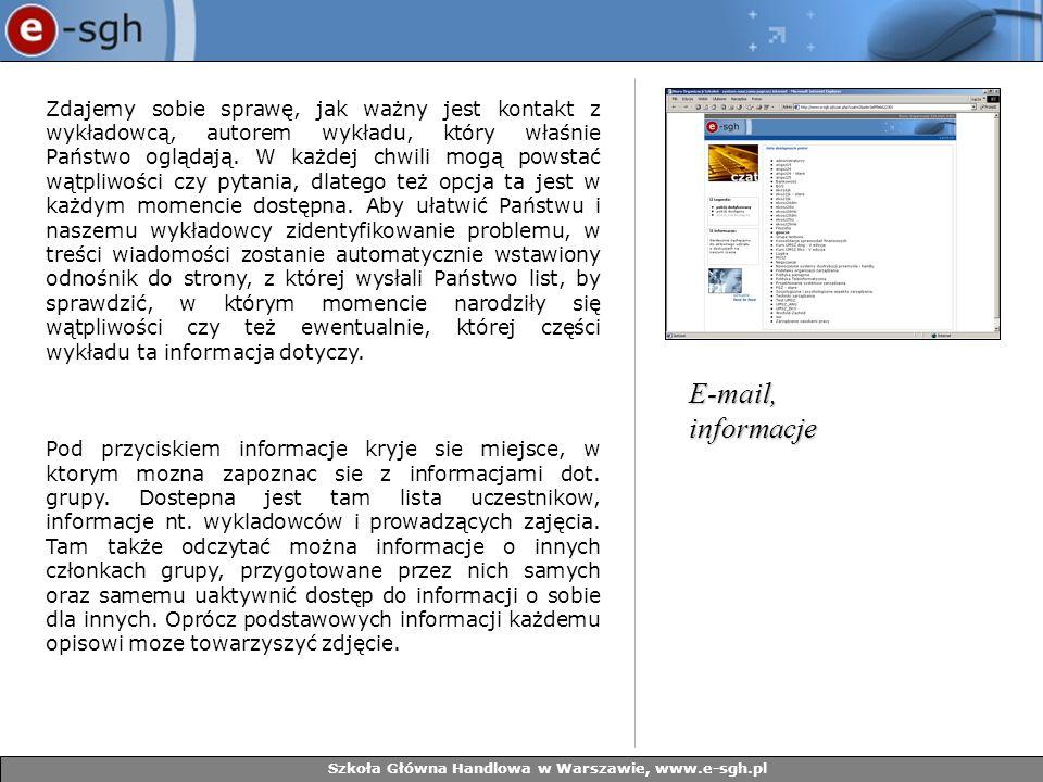 Szkoła Główna Handlowa w Warszawie, www.e-sgh.pl Zdajemy sobie sprawę, jak ważny jest kontakt z wykładowcą, autorem wykładu, który właśnie Państwo ogl